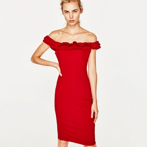 ae1fde087bd Zara Off Shoulder Dress. M_5adad555caab449f672a6d4a